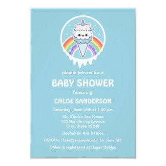 Cute Unicorn Ice Cream Baby Shower Invitations