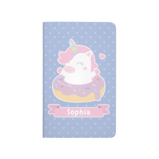 Cute Unicorn in Donut Girls Personalized Journal