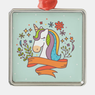 Cute Unicorn in Pretty Ice Cream Colors Christmas Ornament