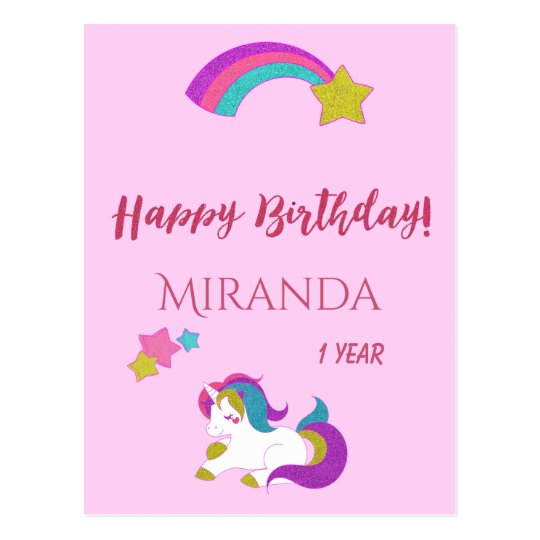 Cute unicorn magical day happy 1st birthday postcard