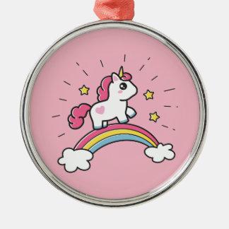 Cute Unicorn On A Rainbow Design Christmas Ornament