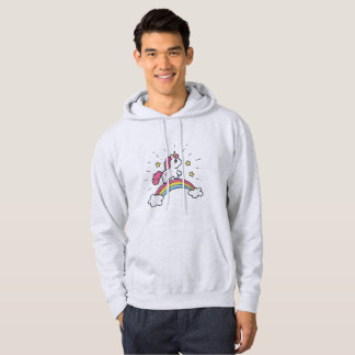 Cute Unicorn On A Rainbow Design Hoodie