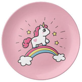 Cute Unicorn On A Rainbow Design Plate