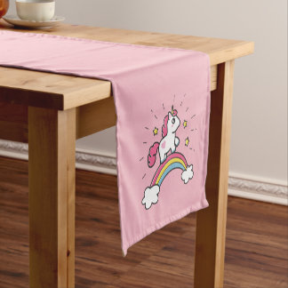 Cute Unicorn On A Rainbow Design Short Table Runner