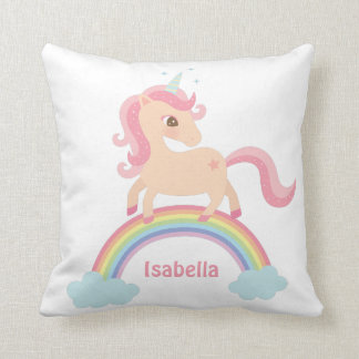 Cute Unicorn on Rainbow Girls Room Decor Pillow