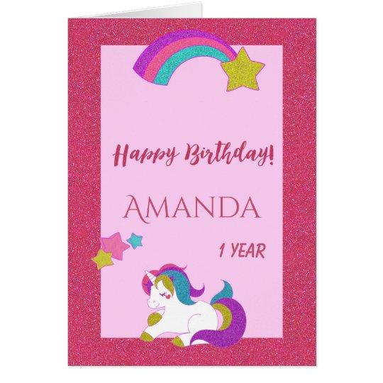 Cute unicorn pink happy magical day 1st birthday