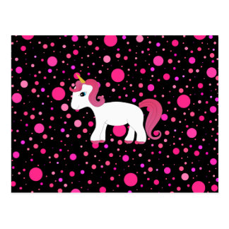 Cute unicorn pink polka dots postcard