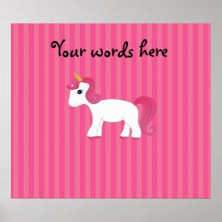 Cute unicorn pink stripes print