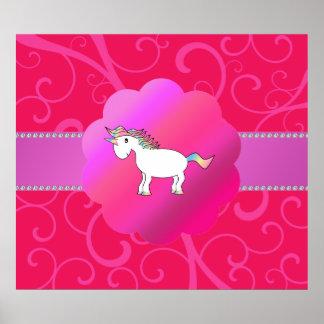 Cute unicorn pink swirls posters