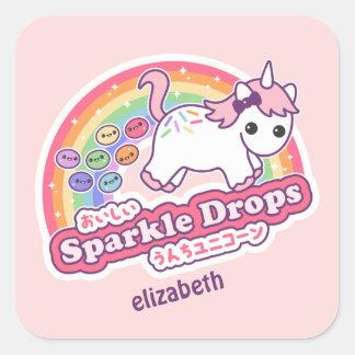 Cute Unicorn Poo Candy Square Sticker