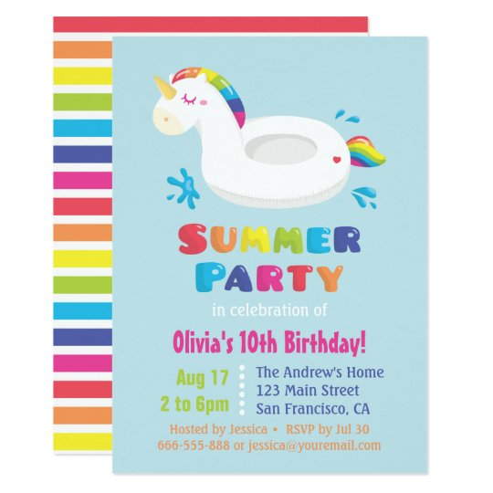 Cute Unicorn Pool Float Kids Summer Birthday Party