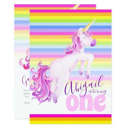 2e85a0362829 Cute unicorn rainbow 1st birthday invitations | Zazzle.co.uk