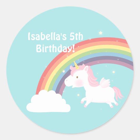 Cute Unicorn Rainbow Girls Birthday Party Classic Round