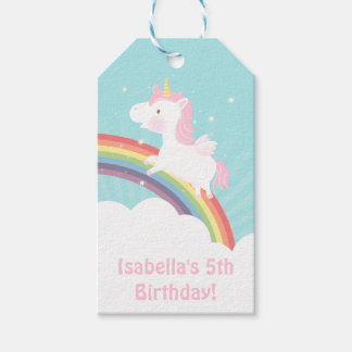 Cute Unicorn Rainbow Girls Birthday Party Gift Tags