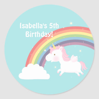 Cute Unicorn Rainbow Girls Birthday Party Round Sticker