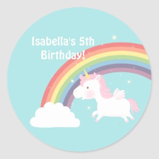 Cute Unicorn Rainbow Girls Birthday Party Sticker