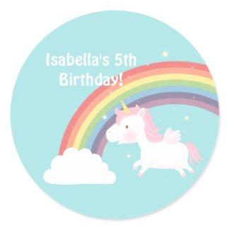 Cute Unicorn Rainbow Girls Birthday Party