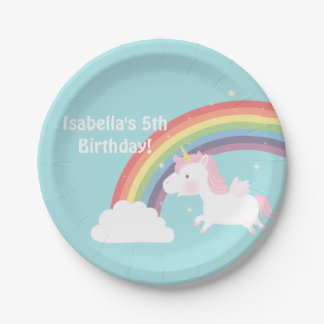 Cute Unicorn Rainbow Girls Birthday Party Supplies Paper Plate