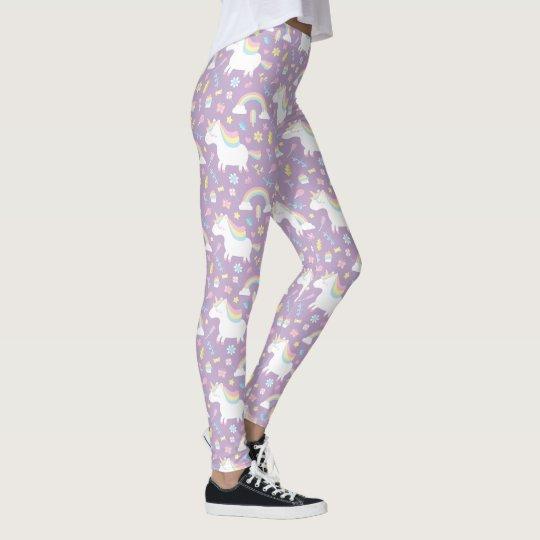 Cute Unicorn Rainbow Girls Purple Leggings
