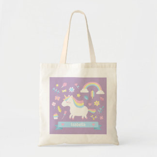 Cute Unicorn Rainbow Girls Purple Tote Bag