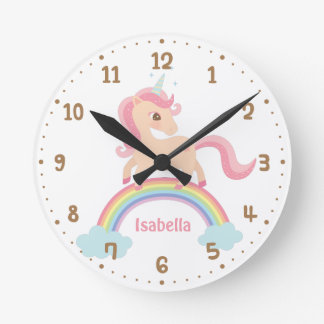 Cute Unicorn Rainbow Girls Room Decor Wall Clock