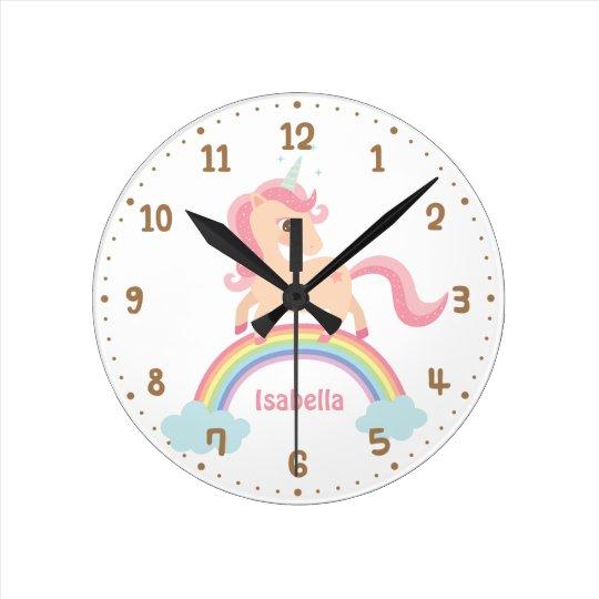 Cute Unicorn Rainbow Girls Room Decor Wall Clock