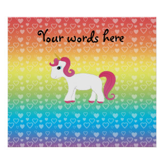 Cute unicorn rainbow hearts print