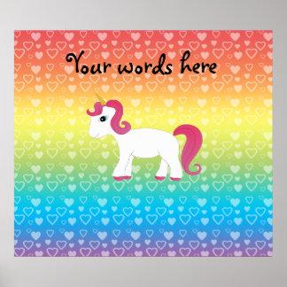 Cute unicorn rainbow hearts print
