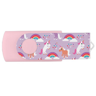 Cute Unicorn Rainbow Purple Pink USB Flash Drive