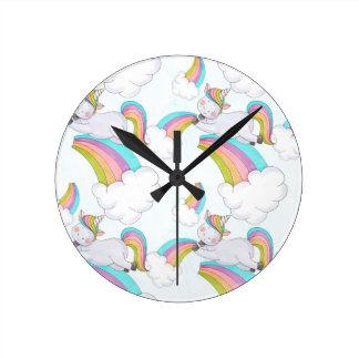 Cute Unicorn Round Clock