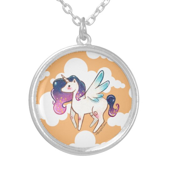 Cute Unicorn Silver Plated Necklace
