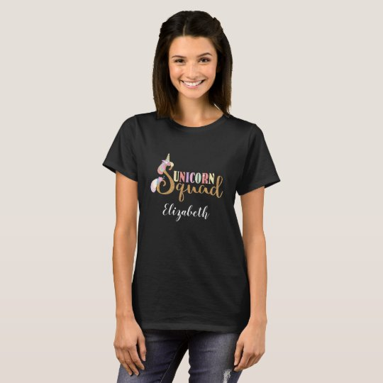 Cute Unicorn Squad Gold Glitter Rainbow Colors T-Shirt