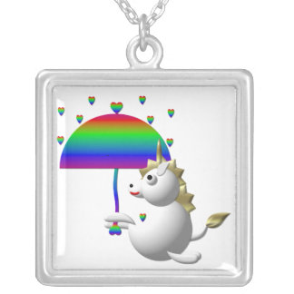 Cute unicorn with an umbrella necklace