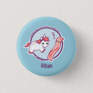 Cute Unicorn with Bacon 3 Cm Round Badge