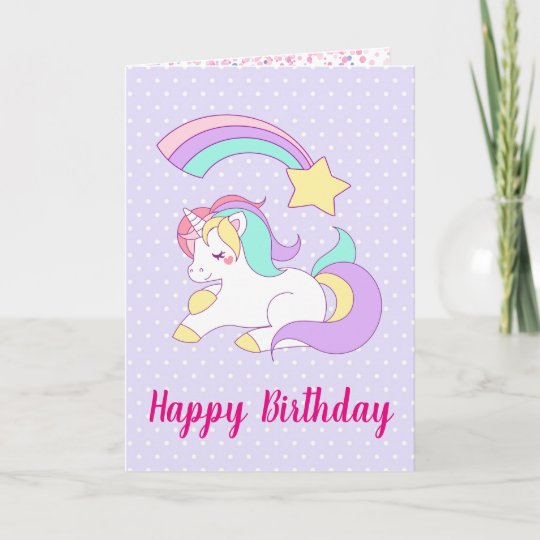 Cute Unicorn With Colourful Shooting Star Birthday Card