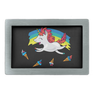 Cute Unicorn with rainbow cool illustration Belt Buckle