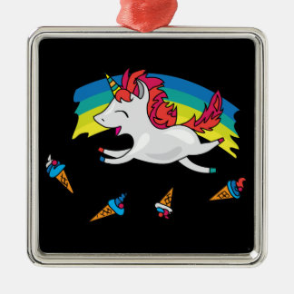 Cute Unicorn with rainbow cool illustration Christmas Ornament