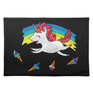 Cute Unicorn with rainbow cool illustration Placemat