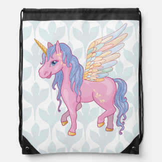 Cute Unicorn with rainbow wings illustration Drawstring Bag