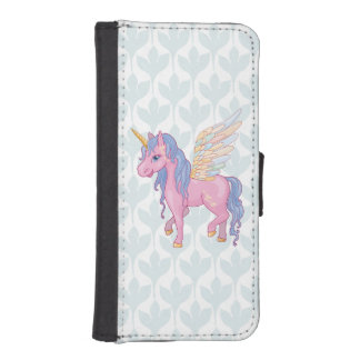 Cute Unicorn with rainbow wings illustration iPhone SE/5/5s Wallet Case