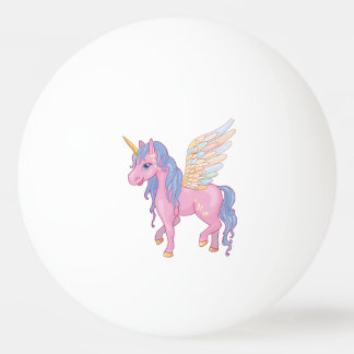 Cute Unicorn with rainbow wings illustration Ping Pong Ball