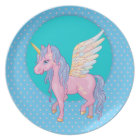 Cute Unicorn with rainbow wings illustration Plate