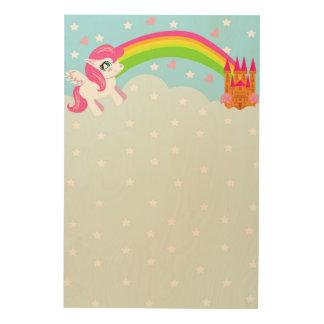 cute unicorn wood canvas