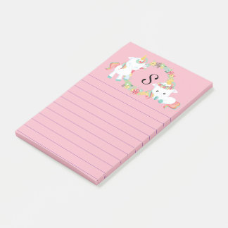 Cute Unicorns and Floral Monogrammed Post-it Notes