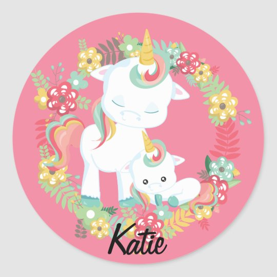 Cute Unicorns and Floral Personalised Classic Round Sticker
