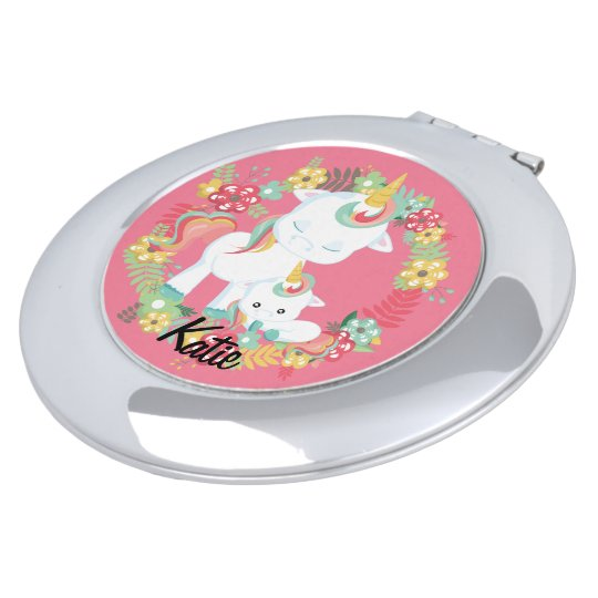 Cute Unicorns and Floral Personalised Compact Mirror