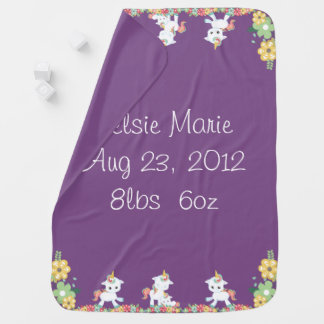 Cute Unicorns and Floral Personlized Baby Blanket