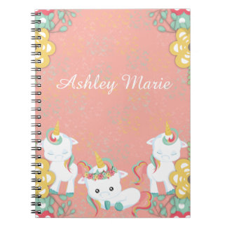 Cute Unicorns and Floral Personlized Notebooks