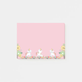 Cute Unicorns and Floral Post-it Notes