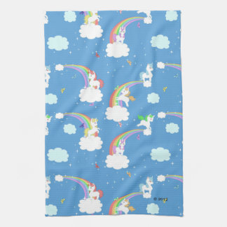 Cute Unicorns and Rainbows Tea Towel